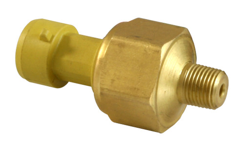 """AEM 30 PSIa or 2 Bar Brass Sensor Kit. Brass Sensor Body. 1/8"""" NPT Male Thread. Includes: 30 PSIa or 2 Bar Brass Sensor, Connector & Pins Brass sensors accurate to within 3% of full scale (pressure sensors) High-quality sealed sensor housings are virtually impervious to automotive fluids (360-degree welded wetted area) Connector and pins included Accuracy: +/- 3% Full Scale over -40C to 105C includes Repeatability, Hysteresis and Linearity Operating Temp: -40C to 105C / -40F to 221F Burst Pressure: 60PSI Response Time: < 1ms Vibration:100 to 2000Hz, 20g Sinusoidal, 3 Axes Sensor Body: Brass Wetted Materials: 304L & 316L Stainless Steel Thread: 1/8"""" NPT Male Thread Weight: < 85 Grams Supply Current: Output: .5 to 4.5Vdc Linear Elec. Termination: Integral weatherproof connector, includes mating connector, pins & pin lock Includes: 30 PSIa or 2 Bar Brass Sensor, Connector, Pins & Pin Lock"""