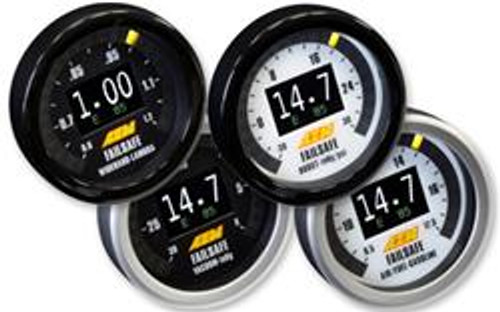 AEM Digital Flex Fuel Wideband Failsafe Gauge NO FF SENSOR. Incl. Bosch 4.2LSU sensor, Black/Silver Bezels, Black/White AFR Faceplates, Black/White Boost Faceplates, Black Vacuum Faceplate & Black Lambda Faceplate FLEX FUEL WIDEBAND FAILSAFE GAUGE TECHNICAL FEATURES:  Can display AFR/Lambda, Boost/Vacuum and Ethanol Content simultaneously on the gauge face! Internal boost sensor (29 PSI) Bosch 4.2LSU Wideband UEGO sensor and weld-in bung included Available with or without an ethanol content sensor On-Board data logging (AFR, Boost/Vacuum & Flex Fuel content) with analysis using FREE AEMdata software Full color center Organic Light Emitting Diode (OLED) display is user selectable (Boost/Vacuum and Ethanol Content, AFR/Lambda and Ethanol Content or only Boost/Vacuum or AFR/Lambda) 24 three-color sweeping LEDs, user selectable colors (Boost/Vacuum or AFR/Lambda) Intuitive set up software Dimmer input included Interchangeable faceplates and bezels Standard 52mm (2-1/16th) diameter fits most gauge pods FLEX FUEL WIDEBAND FAILSAFE GAUGE INSTALLATION FEATURES:  AEMnet compatible (CAN 2.0) Differential AFR analog output Differential Ethanol Content analog output One low-side driver output (Ground with 1.5 amp max draw) Positive-lock connectors Tunable PC-based software with USB connectivity Time based reset for outputs WIDEBAND FAILSAFE GAUGE FACEPLATE STYLES:  Black Vacuum only in sweeping LEDs Black and White AFR in sweeping LEDs Black and White Vacuum/Boost in sweeping LEDs Black Lambda in sweeping LEDs
