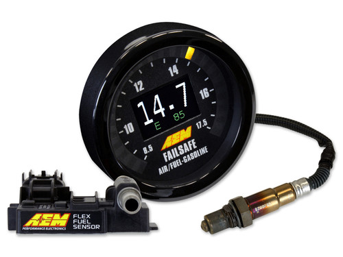 AEM Digital Flex Fuel Wideband Failsafe Gauge W/ FF SENSOR. Incl. Bosch 4.2LSU sensor, AEM Flex Fuel Sensor, Black/Silver Bezels, Black/White AFR Faceplates, Black/White Boost Faceplates, Black Vacuum Faceplate & Black Lambda Faceplate FLEX FUEL WIDEBAND FAILSAFE GAUGE TECHNICAL FEATURES:  Can display AFR/Lambda, Boost/Vacuum and Ethanol Content simultaneously on the gauge face! Internal boost sensor (29 PSI) Bosch 4.2LSU Wideband UEGO sensor and weld-in bung included Available with or without an ethanol content sensor On-Board data logging (AFR, Boost/Vacuum & Flex Fuel content) with analysis using FREE AEMdata software Full color center Organic Light Emitting Diode (OLED) display is user selectable (Boost/Vacuum and Ethanol Content, AFR/Lambda and Ethanol Content or only Boost/Vacuum or AFR/Lambda) 24 three-color sweeping LEDs, user selectable colors (Boost/Vacuum or AFR/Lambda) Intuitive set up software Dimmer input included Interchangeable faceplates and bezels Standard 52mm (2-1/16th) diameter fits most gauge pods FLEX FUEL WIDEBAND FAILSAFE GAUGE INSTALLATION FEATURES:  AEMnet compatible (CAN 2.0) Differential AFR analog output Differential Ethanol Content analog output One low-side driver output (Ground with 1.5 amp max draw) Positive-lock connectors Tunable PC-based software with USB connectivity Time based reset for outputs WIDEBAND FAILSAFE GAUGE FACEPLATE STYLES:  Black Vacuum only in sweeping LEDs Black and White AFR in sweeping LEDs Black and White Vacuum/Boost in sweeping LEDs Black Lambda in sweeping LEDs