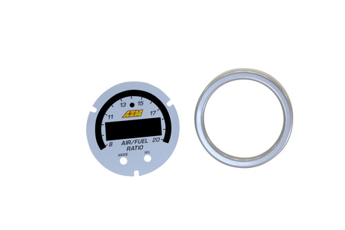 AEM X-Series Wideband UEGO AFR Sensor Controller Gauge Accessory Kit. Includes Silver Bezel & White AFR/Lambda Faceplate