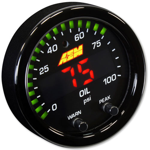 "AEM X-Series Pressure Gauge 0~100psi / 0~7bar . Black Bezel & Black Oil Faceplate 2-1/16th (52mm) gauge diameter for easy mounting in gauge pods Slim 0.825"" overall gauge depth and 0.200"" cup depth – mount them virtually anywhere! Programmable center LED is 87% larger than original AEM gauges 24 green outer LEDs for quick reference to engine parameter User selectable standard or metric display (0-100 PSI/0-7 BAR) Peak/Recall via gauge face buttons User selectable threshold warnings Optional silver bezel and faceplate accessory kits available (sold separately) AEMnet CANbus-enabled for transmitting data to EMS or Data Logger 0-5v analog outputs for transmitting data to EMS or Data Logger Auto dimming sensor delivers ideal display brightness Positive locking connectors provide secure connection"