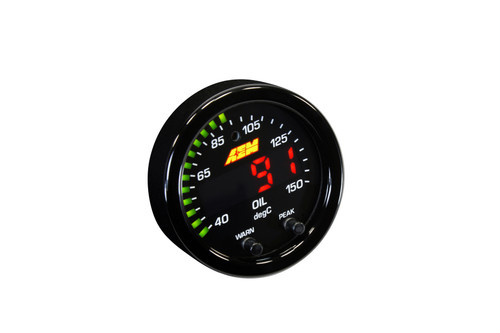 """AEM X-Series Temperature Gauge 100~300F / 40~150C. Black Bezel & Black Water Faceplate 2-1/16th (52mm) gauge diameter for easy mounting in gauge pods Slim 0.825"""" overall gauge depth and 0.200"""" cup depth – mount them virtually anywhere! Programmable center LED is 87% larger than original AEM gauges 24 green outer LEDs for quick reference to engine parameter User selectable standard or metric display (100-300 F/40-150 C) Peak/Recall via gauge face buttons User selectable threshold warnings Optional silver bezel and faceplate accessory kits available (sold separately) AEMnet CANbus-enabled for transmitting data to EMS or Data Logger 0-5v analog outputs for transmitting data to EMS or Data Logger Auto dimming sensor delivers ideal display brightness Positive locking connectors provide secure connection"""