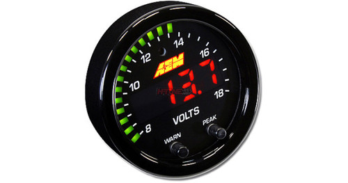 """AEM X-Series Volt Gauge 8~18V. Black Bezel & Black Faceplate 2-1/16th (52mm) gauge diameter for easy mounting in gauge pods Slim 0.825"""" overall gauge depth and 0.200"""" cup depth – mount them virtually anywhere! Programmable LED is 87% larger than original AEM gauges 24 green outer LEDs for quick reference to system voltage Peak/Recall via gauge face buttons Optional silver bezel with white faceplate accessory kit available (sold separately) AEMnet CANbus-enabled for transmitting data to EMS or Data Logger 0-5v analog outputs for transmitting data to EMS or Data Logger Auto dimming sensor delivers ideal display brightness Positive locking connectors provide secure connection"""