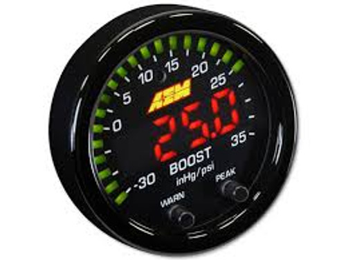 "AEM X-Series Boost Pressure Gauge -30inHg~35psi / -1~2.5bar. Black Bezel & Black Faceplate 2-1/16th (52mm) gauge diameter for easy mounting in gauge pods Slim 0.825"" overall gauge depth and 0.200"" cup depth – mount them virtually anywhere! Programmable center LED is 87% larger than original AEM gauges 24 green outer LEDs for quick reference to engine parameter User selectable standard or metric display ( -30in/Hg~35PSI / -1~2.5BAR) Peak/Recall via gauge face buttons User selectable threshold warnings Optional silver bezel and white faceplate accessory kit available (sold separately) AEMnet CANbus-enabled for transmitting data to EMS or Data Logger 0-5v analog outputs for transmitting data to EMS or Data Logger Auto dimming sensor delivers ideal display brightness Positive locking connectors provide secure connection"