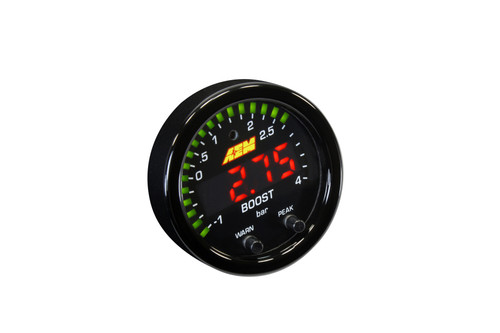 """AEM X-Series Boost Pressure Gauge -30~60psi / -1~4bar. Black Bezel & Black Faceplate 2-1/16th (52mm) gauge diameter for easy mounting in gauge pods Slim 0.825"""" overall gauge depth and 0.200"""" cup depth – mount them virtually anywhere! Programmable center LED is 87% larger than original AEM gauges 24 green outer LEDs for quick reference to engine parameter User selectable standard or metric display ( -30in/Hg~60PSI / -1~4BAR) Peak/Recall via gauge face buttons User selectable threshold warnings (excl. Volts) Optional silver bezel with white faceplate(s) accessory kits available (sold separately) AEMnet CANbus-enabled for transmitting data to EMS or Data Logger 0-5v analog outputs for transmitting data to EMS or Data Logger Auto dimming sensor delivers ideal display brightness Positive locking connectors provide secure connection"""