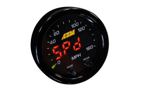 "AEM X-Series GPS Speedometer Gauge 0~160mph / 0~240kph. Black Bezel & Black Faceplate Displays ground speed, heading and altitude! Integrate with the Infinity ECU via AEMnet CAN bus to add track mapping! Transmit vehicle speed to an existing speedometer without needing a VSS sensor User selectable units of measurement (US or Metric) 2-1/16th (52mm) gauge diameter for easy mounting in gauge pods Slim 0.825"" overall gauge depth and 0.200"" cup depth – mount them virtually anywhere! 24 green outer LEDs for quick reference to engine parameter Optional silver bezel with white faceplate accessory kit available (sold separately, PN 30-0313-ACC) Auto dimming sensor delivers ideal display brightness Positive locking connector provides secure connection Compatible with 16v vehicle systems"