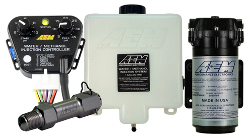 "AEM V3 Water/Methanol Injection Kit, Standard Controller - Internal MAP with 35psi max, 200psi WM Pump, 1 Gallon Reservoir, Conductive Fluid Level Sensor Reduces Air Inlet Charge Temps The term ""liquid intercooling"" with water/methanol injection refers to a highly atomized mist of water/methanol that is injected into the airstream and begins to evaporate. As it does, this evaporative effect reduces air charge temps by as much as 100 degrees, and delivers a more oxygen-rich air charge.  Reduces Detonation (Knock) Water absorbs heat, and methanol is a cool burning, anti-knock rated fuel. When combined and introduced into the inlet stream, they can effectively increase your vehicle's anti-knock index so you can reliably increase boost pressure and advance ignition timing using pump gas. Reduces Carbon Deposits Modern vehicles fitted with Exhaust Gas Recirculation (EGR) devices for emissions control promote heavy carbon build up inside the air intake. This carbon build-up can create 'hot spots' in the combustion chambers that can cause detonation. Water/methanol injection has a 'steam cleaning' effect that reduces this carbon build up, and in some cases can increase fuel economy."