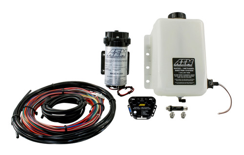 "AEM V2 Water/Methanol Injection Kit, Multi Input Controller - 0-5v/MAF Frequency or Voltage/Duty Cycle/Ext MAP, 200psi WM Pump, 1 Gallon Reservoir, Conductive Fluid Level Sensor Reduces Air Inlet Charge Temps The term ""liquid intercooling"" with water/methanol injection refers to a highly atomized mist of water/methanol that is injected into the airstream and begins to evaporate. As it does, this evaporative effect reduces air charge temps by as much as 100 degrees, and delivers a more oxygen-rich air charge.  Reduces Detonation (Knock) Water absorbs heat, and methanol is a cool burning, anti-knock rated fuel. When combined and introduced into the inlet stream, they can effectively increase your vehicle's anti-knock index so you can reliably increase boost pressure and advance ignition timing using pump gas.  Reduces Carbon Deposits Modern vehicles fitted with Exhaust Gas Recirculation (EGR) devices for emissions control promote heavy carbon build up inside the air intake. This carbon build-up can create 'hot spots' in the combustion chambers that can cause detonation. Water/methanol injection has a 'steam cleaning' effect that reduces this carbon build up, and in some cases can increase fuel economy."
