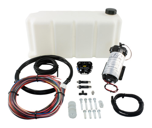 "AEM V2 Water/Methanol Injection Kit, Multi Input Controller - 0-5v/MAF Frequency or Voltage/Duty Cycle/Ext MAP, 200psi WM Pump, 5 Gallon Reservoir, Conductive Fluid Level Sensor Reduces Air Inlet Charge Temps Water/methanol's ""liquid intercooling"" effect on turbo Diesel engines can reduce air charge temps by as much as 100 degrees, and deliver a more oxygen-rich air charge.  Enhances Combustion & Efficiency In addition to cooling air inlet temps, as the water absorbs heat in the combustion chamber and converts to steam, the steam's expansion rate increases the mean effective cylinder pressure without causing dangerous pressure spikes. This effective increase in cylinder pressure combined with methanol's promotion of complete combustion allows your Diesel engine to burn fuel more completely. When fuel is being burned more completely less is wasted, which can increase fuel economy.  REDUCES EXHAUST GAS TEMPERATURES (EGTs) Because Diesel vehicles using water/methanol injection burn fuel more completely, less un-burnt fuel is present in the exhaust manifold where it can flash ignite to increase EGTs and create particulate matter (soot). Water/methanol injection eliminates this secondary combustion of raw fuel in the exhaust manifold to reduce EGTs by up to 250 degrees, and reduces harmful particulates to extend engine life (and that expensive particulate filter)."