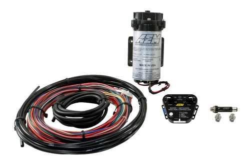 """AEM V2 Water/Methanol Nozzle and Controller Kit, Multi Input Controller - 0-5v/MAF Frequency or Voltage/Duty Cycle/Ext MAP, 200psi WM Pump, Conductive Fluid Level Sensor, NO TANK INC. Reduces Air Inlet Charge Temps Water/methanol's """"liquid intercooling"""" effect on turbo Diesel engines can reduce air charge temps by as much as 100 degrees, and deliver a more oxygen-rich air charge. Enhances Combustion & Efficiency In addition to cooling air inlet temps, as the water absorbs heat in the combustion chamber and converts to steam, the steam's expansion rate increases the mean effective cylinder pressure without causing dangerous pressure spikes. This effective increase in cylinder pressure combined with methanol's promotion of complete combustion allows your Diesel engine to burn fuel more completely. When fuel is being burned more completely less is wasted, which can increase fuel economy.  REDUCES EXHAUST GAS TEMPERATURES (EGTs) Because Diesel vehicles using water/methanol injection burn fuel more completely, less un-burnt fuel is present in the exhaust manifold where it can flash ignite to increase EGTs and create particulate matter (soot). Water/methanol injection eliminates this secondary combustion of raw fuel in the exhaust manifold to reduce EGTs by up to 250 degrees, and reduces harmful particulates to extend engine life (and that expensive particulate filter)."""