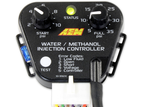 AEM V2 Water/Methanol Standard Controller Kit - Internal MAP with 35psi max The new controller designs (Boost Dependent Kit PN 30-3300 & Multi Input Kit PN 30-3350) feature large, turn-resistant knobs and larger numbering to easily set accurate start and full activation points, with covered status LED and test buttons for added splash resistance. A plug is integrated into the controller housing for mating to the redesigned wiring harness's positive-lock connector. The Boost Dependent controller housing has a molded-in, barbed nipple to accept a boost hose and a wiring legend on the back. Both controller housings feature an easy to access integrated fuse and molded mounting tabs.