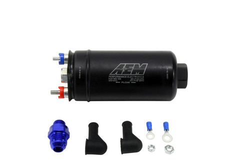 "AEM 400lph Inline High Flow Fuel Pump. 400lph@43psi, 270LPH@120psi. -10AN Inlet & -6AN Outlet. Includes Fuel Pump, installation instructions, -6AN to -8AN check valve fitting, wiring terminal ends/covers/nuts. Included hardware is not application specific. Designed for high output naturally aspirated and forced induction EFI vehicles Popular ""044 Style"" physical configuration but with AN inlet & discharge port connections Maintains very high flow even at boosted fuel pressures; 340LPH @ 73 PSI (30 psi boost) Installs externally or in-tank Each pump individually tested to flow minimum of 400LPH (100gph) @ 40 PSI Compatible with Flex Fuel (E85/E90) and all types of gasoline (100% Alcohol fuels may diminish fuel pump life) Kit includes fuel pump, -6 to -8 male AN discharge fitting with check valve, terminal nuts & boots, instructions Optional -10 ORB fitting pre-filter, -6 and -8 discharge adapters without the integral check valves"