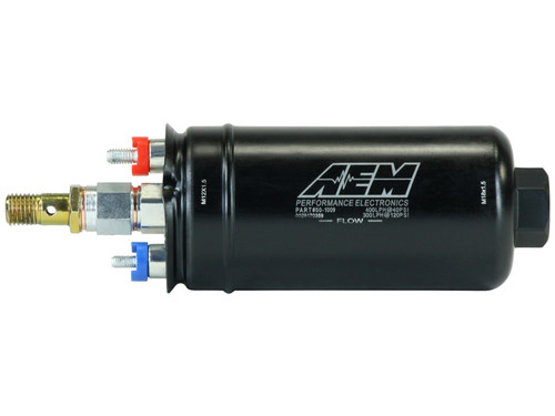"AEM 400lph Inline High Flow Fuel Pump. 400lph@40psi, 300LPH@120psi. M18x1.5 Inlet & M12x1.5 Outlet. Includes Fuel Pump, installation instructions, check valve fitting, wiring terminal ends/covers/nuts. Included hardware is not application specific Designed for high output naturally aspirated and forced induction EFI vehicles Popular ""044 Style"" physical configuration with metric fittings for direct replacement of 044 pumps! Maintains very high flow even at boosted fuel pressures; 340 lph @ 73 PSI (30 psi boost) Each pump individually tested to flow minimum of 400lph (105gph) @ 40 PSI Compatible with Flex Fuel (E85/E90) and all types of gasoline (100% Alcohol fuels may diminish fuel pump life) Kit includes fuel pump, check valve fitting, terminal nuts & boots, instructions"