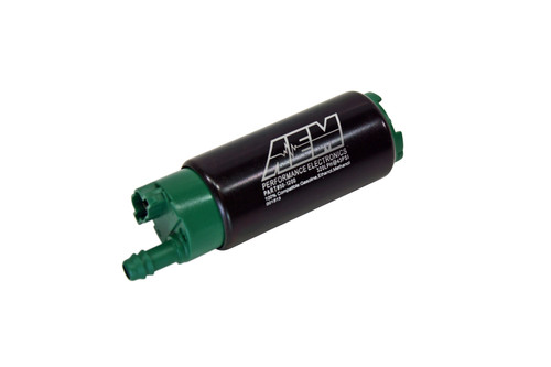 AEM 340lph E85-Compatible High Flow In-Tank Fuel Pump (Offset Inlet, Inline). 340lph@43psi. Includes Fuel Pump, installation instructions, wiring harness, pre filter, internal fuel hose & clamps, end cap and rubber buffer sleeve. Included hardware is not application specific. Tested and compatible with ethanol fuels up to E100, methanol fuels up to M100 and all types of gasoline Designed for high output naturally aspirated and forced induction EFI vehicles In tank design Each pump is tested to flow 340 lph @ 40 PSI 39mm diameter fits most applications Includes pre filter, hose, clamps, flying lead, end cap and rubber buffer sleeve