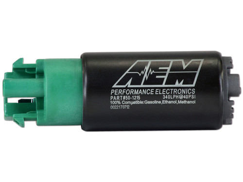 AEM 340lph E85-Compatible High Flow In-Tank Fuel Pump (65mm Short Offset Inlet with hooks, Inline). 340lph@43psi. Includes Fuel Pump, installation instructions, wiring harness, pre filter and o-rings. Included hardware is not application specific. Tested and compatible with ethanol fuels up to E100, methanol fuels up to M100 and all types of gasoline Designed for high output naturally aspirated and forced induction EFI vehicles In tank design Each pump is tested to flow 340 lph @ 40 PSI Compact body (39mm diameter x 65mm length) Includes Fuel Pump, installation instructions, wiring harness, pre filter and O-rings (use of stock isolator sleeve is recommended)