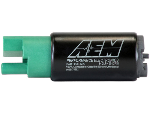 AEM 340lph E85-Compatible High Flow In-Tank Fuel Pump (65mm Short Offset Inlet, Inline). 340lph@43psi. Includes Fuel Pump, installation instructions, wiring harness, pre filter and o-rings. Included hardware is not application specific. Tested and compatible with ethanol fuels up to E100, methanol fuels up to M100 and all types of gasoline Designed for high output naturally aspirated and forced induction EFI vehicles In tank design Each pump is tested to flow 340 lph @ 40 PSI Compact body (39mm diameter x 65mm length) Includes Fuel Pump, installation instructions, wiring harness, pre filter and O-rings (use of stock isolator sleeve is recommended)