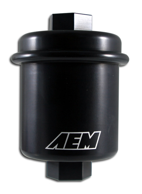 AEM High Volume Fuel Filter. Black. Acura & Honda. Inlet: 14mm X 1.5 Outlet: 12mm X 1.25 Supports flow for racing and Motorsports vehicles up to 500 horsepower Fits in stock Honda/Acura location or as a floating application on any vehicle Large hexes machined into top and bottom for easy disassembly Thread sizes for filter are 12x1.25 top and 14x1.50 bottom for fittings (universal applications) Uses standard high flow replacement filter (NAPA Gold Part #PN4950 or FRAM part #CH6069) No additional parts required for installation (Honda/Acura Only)