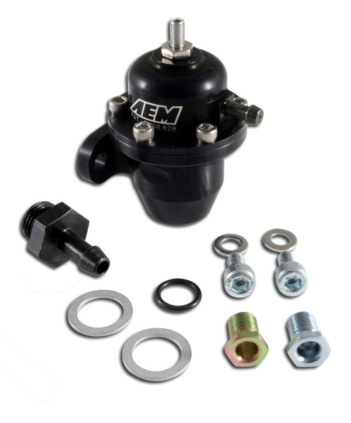 """AEM Adjustable Fuel Pressure Regulator. Black. Acura & Honda Inline Flange with Straight Return Line Fitting CNC-machined from 6061-T6 billet aluminum Mounts directly to O.E. fuel rail or AEM High Volume Fuel Rail Patented interchangeable discharge orifices match output of virtually any fuel pump (single large port included) Accept a -6 AN or 9/16""""x18 fittings Adjustable from 20 psi to maximum fuel pump capacity Boost dependent rising fuel pressure rate (1:1) No additional parts required for installation Patent # 6,298,828"""