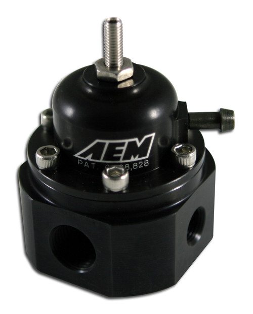 "AEM Universal Adjustable Fuel Pressure Regulator. Black. Inlet: 2 X -6 (9/16-18) Outlet: -6 (9/16""-18) Gauge Port: 1/8""NPT Universal fuel pressure regulator adapts to virtually any vehicle Adjustable from 20 psi to maximum fuel pump capacity Supports fuel flow in racing applications up to 1,000 horsepower Boost dependent rising fuel pressure rate (1:1) CNC-machined from 6061-T6 billet aluminum Patent # 6,298,828"