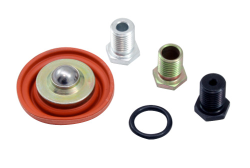 Adjustable Fuel Pressure Regulator Rebuild Kit. Includes: Diaphragm, Single Large .250 Return Orifice & O-Ring