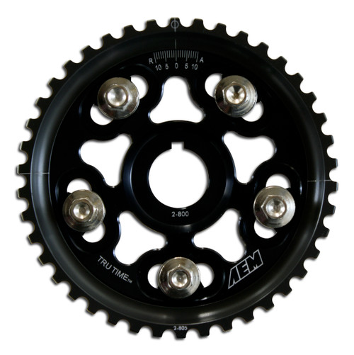 AEM Tru-Time Adjustable Cam Gear. Black. 5-Bolt. Honda H22A1 & H22A4 AEM Tru-Time Adjustable Adjustable Cam Gears are available in a multi-spoke, five-bolt designs.
