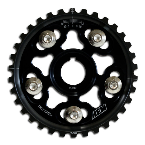 AEM Tru-Time Adjustable Cam Gear. Black. 5-Bolt. Acura B17A1, B18A1, B18B1, B18C1 & B18C5. Honda B16A2, B16A3, B20A5, B20B4, B20Z2, B21A1 & H23A1 AEM Tru-Time Adjustable Adjustable Cam Gears are available in a multi-spoke, five-bolt designs.