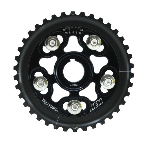AEM Tru-Time Adjustable Cam Gear. Black. 5-Bolt. Honda D16Y7 & D16Y8 AEM Tru-Time Adjustable Adjustable Cam Gears are available in a multi-spoke, five-bolt designs.