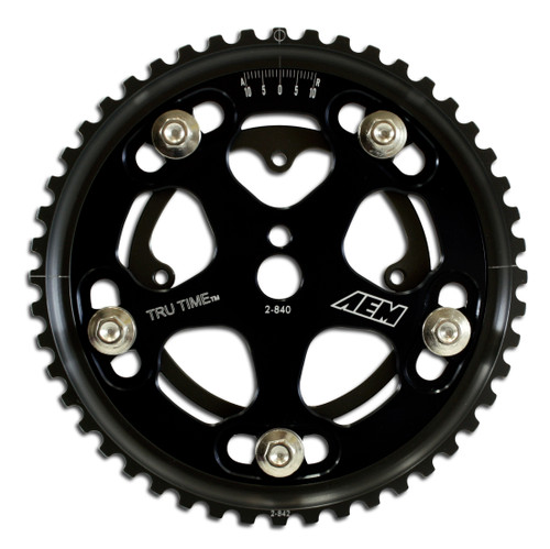 AEM Tru-Time Adjustable Cam Gear. Black. 5-Bolt. Eagle VIN:E, VIN:F & VIN:U. Mitsubishi VIN:E, VIN:F, VIN:R, VIN:U & 4G63T. Plymouth VIN:E, VIN:F, VIN:R & VIN:U AEM Tru-Time Adjustable Adjustable Cam Gears are available in a multi-spoke, five-bolt designs.