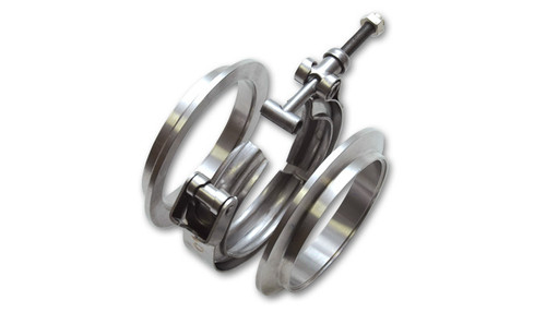 """V-Band Flange Assembly for 2.5"""" O.D. Tubing, T304 Stainless Steel  - V-Band Flange Assemblies are a popular and effective alternative to traditional flanged or slip fit tube connections. They work very well in operating conditions involving stress, vibration and extreme temperature fluctuations.  - The V-band clamp design allows for a gasket free seal and the quick release feature of these clamps makes swapping parts at the track quick and easy.  - Vibrant Performance V-band flange assemblies feature a unique """"Male/Female"""" design to ensure proper alignment of the flanges inside the clamp.  - each assembly consists of two (2) V-band flanges and one (1) Quick Release V-band clamp.  - Aluminum V-band flange assembly for 2.5"""" OD tubing (Part #11490) now available, consisting of 2 aluminum flanges and a stainless steel V-band clamp."""