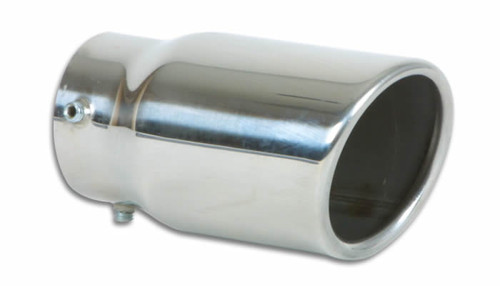 "Vibrant Performance Bolt-on Exhaust Tips 3"" Round Stainless Steel Bolt-On Tip (Single Wall, Angle Cut)  Inlet Diameter: Fits up to 2.25"" Outlet Diameter: 3"" Overall Length: 5.5"" Tip Style: Single Wall, Angle Cut, Rolled Edge"