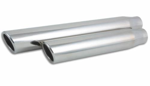 "3.5"" Round Stainless Steel Tip (Single Wall, Angle Cut) - 3"" inlet, 11"" Long, T304 Stainless Steel  Inlet Diameter: 3"" Outlet Diameter: 3.5"" Overall Length: 11"" Tip Style: Single Wall, Angle Cut, Rolled Edge"
