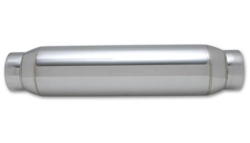 "Vibrant Performance Bottle Style Resonator, 2.5"" inlet/outlet x 18"" long 304 Stainless Steel Inlet Diameter: 2.50"" Outlet Diameter: 2.50"" Resonator Size: 4.00"" Round Body Overall Length: 18"""