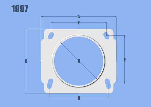 "Vibrant Performance Mass Air Flow Sensor Adapter Plate, for Nissan applications Dim A = 4.33"" (110.2mm) Dim B = 3.73"" (94.7mm) Dim C = 3.00"" (76.2mm) Dim D = 3.41"" (86.7mm) Dim E = 2.80"" (71.3mm) Dim F = 3.20"" (81.4mm)"