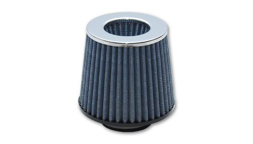 "Open Funnel Performance Air Filter (3"" inlet I.D.) - Chrome Cap, Cotton Gauze Filter Element / Rubber Base  Inlet ID: 3.00"" (76.2mm) Filter Cap OD: 4.75"" (120.7mm) Filter Base OD: 6.00"" (152.4mm) Overall Height: 6.25"" (158.8mm) Filter Cap Color: Chrome Vibrant Performance Open Funnel Filters feature an inverted cap design which increases the filter surface area for improved air flow and excellent filtration of airborne particulate. Note: These filters are not intended for forced induction applications."