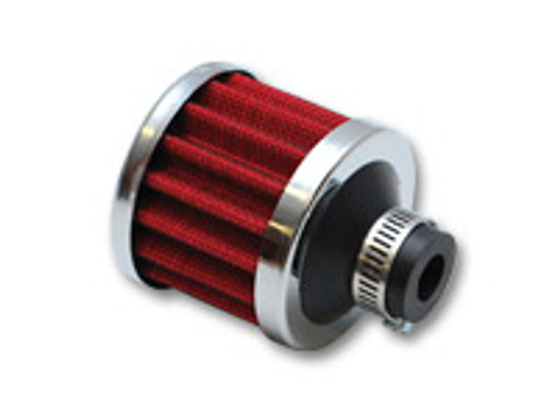 """Crankcase Breather Filter w/ Chrome Cap - 1"""" (25mm) Inlet I.D.  Inlet ID: 1.00"""" (25.4mm) Filter Cap OD: 2.1875"""" (55.6mm) Overall Height: 3.125"""" (79.4mm) Filter Cap Color: Chrome"""