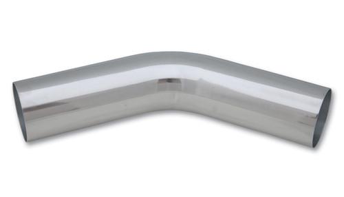 "2.5"" O.D. Aluminum 45 Degree Bend - Polished, 6061 Aluminum  Tube OD: 2.5"" CLR: 3.75"" Leg Length: 6"""