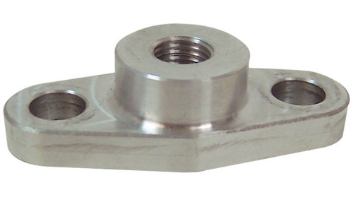 "Oil Feed Flange for use with Garrett T3, T3/T4, GT32 and T04 Turbochargers T6061 Billet Aluminum -This oil feed flange is designed for Garrett turbochargers that do not have a tapped oil feed inlet and therefore a flange must be used for installing the oil feed line. - Threaded - 1/8"" NPT - Includes M8 x 1.25 bolts"