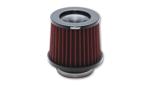"""Vibrant Performance Classic Performance Air Filter 3.5"""" THE CLASSIC Performance Air Filter (3.5"""" inlet diameter) Inlet ID: 3.50"""" (88.9mm) Filter Cap OD: 5.00"""" (127mm) Filter Base OD: 5.75"""" (146.1mm) Overall Height: 6.50"""" (165.1mm) Filter Cap Color: Black Vibrant Performance Classic Filters features a 4-Ply cotton gauze filter element that allows for significantly more airflow than a typical stock air filter while also providing excellent filtration of airborne particulate. Each filter is pre-oiled and is washable and reusable (it is recommended that the filter element is cleaned every 10,000-15,000 miles (16,000 to 24,000 kilometers)."""