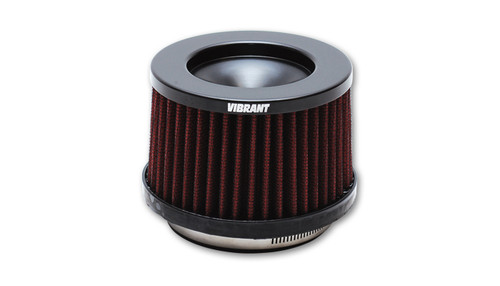 """Vibrant Performance Classic Performance Air Filter 4"""" THE CLASSIC Performance Air Filter (4"""" inlet ID, 3-5/8"""" Filter Height) These Shorter """"Classic-series"""" Air Filters are designed to be as compact as possible to fit in tight spaces. Inlet ID: 4.00"""" (101.6mm) Filter Cap OD: 5.00"""" (127mm) Filter Base OD: 5.50"""" (139.7mm) Overall Height: 4.375"""" (111.1mm) Filter Cap Color: Black Vibrant Performance Classic Filters features a 4-Ply cotton gauze filter element that allows for significantly more airflow than a typical stock air filter while also providing excellent filtration of airborne particulate. Each filter is pre-oiled and is washable and reusable (it is recommended that the filter element is cleaned every 10,000-15,000 miles (16,000 to 24,000 kilometers)."""