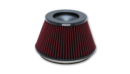 "THE CLASSIC Performance Air Filter (6"" inlet ID, 3-5/8"" Filter Height) - designed for Bellmouth Velocity Stacks  Inlet ID: 6.00"" (152.4mm) Filter Cap OD: 5.00"" (127mm) Filter Base OD: 7.50"" (190.5mm) Overall Height: 5.375"" (136.5mm) Filter Cap Color: Black Vibrant Performance Classic Filters features a 4-Ply cotton gauze filter element that allows for significantly more airflow than a typical stock air filter while also providing excellent filtration of airborne particulate. Each filter is pre-oiled and is washable and reusable (it is recommended that the filter element is cleaned every 10,000-15,000 miles (16,000 to 24,000 kilometers)."