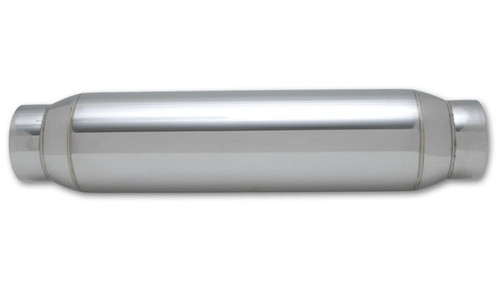 """Vibrant Performance Large Diameter Bottle Style Resonator, 3.5"""" inlet/outlet x 18"""" long 304 Stainless Steel Inlet Diameter: 3.50"""" Outlet Diameter: 3.50"""" Resonator Size: 5.00"""" Round Body Overall Length: 18"""""""