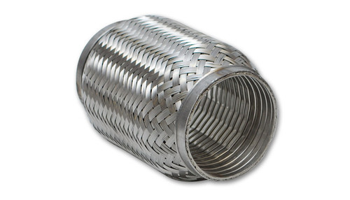 """TurboFlex Coupling w/ Interlock Liner, 2.25"""" I.D. x 4"""" Overall Length  Inlet Diameter - 2.25"""" I.D. Outlet Diameter - 2.25"""" I.D. Overall Length - 4""""  - Vibrant flexible couplings are engineered to isolate vibration generated by your vehicle's engine, thereby relieving stress on the exhaust system. - Flex couplings reduce premature cracking of manifolds and downpipes and help extend the life of other components. - TurboFlex couplings feature an internal stainless steel interlock liner that facilitates smooth flow of high temperature exhaust gases. These flex are recommended for high performance (especially forced induction) applications."""