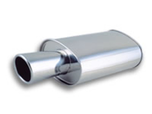 "Vibrant Performance STREETPOWER Oval Muffler Polished w/ 4"" Round Angle Cut Tip (3"" inlet) 304 Stainless Steel Muffler Size: 5"" x 9"" Oval Muffler Body, 15"" Long Overall Length: 23"" (including tip) Tips Length: 8"""