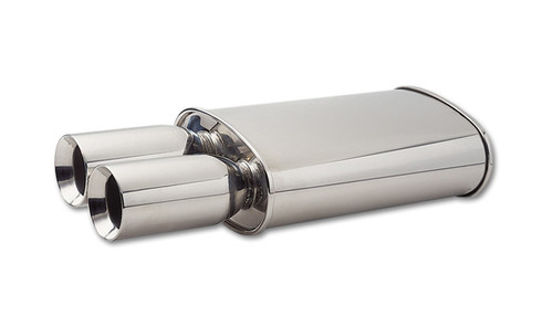 "Vibrant Performance STREETPOWER Oval Muffler Polished w/ Dual 3.5"" Round Tips (3"" inlet) Muffler Size: 5"" x 9"" Oval Muffler Body, 15"" Long Overall Length: 23"" (including tips) Tips Length: 8"""