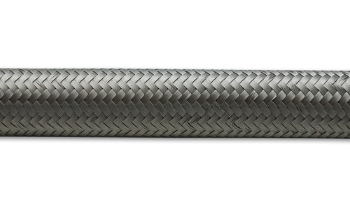 """5ft Roll of Stainless Steel Braided Flex Hose; AN Size: -4; Hose ID 0.22""""  T300 Stainless Steel  - E85 Friendly - T300 Stainless Steel Braided Cover - Suitable for use with Oil, Water, Fuel and Coolant - Capable of handling operating temperatures ranging from -40 deg F to 300 deg F and elevated operating pressure of 1000psi."""