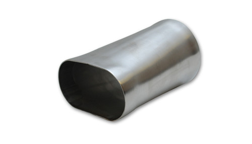 "Transition Adapter (6"" Long) - 4"" Oval to 4"" OD x Round   T304 Stainless Steel  Tube Diameter - 4.0"" Oval to 4.0"" O.D. Round Transition Length - 6"" Tube Thickness - 0.065"" (1.65mm) - T304 Stainless Steel is a non-magnetic alloy that possesses very high chromium and nickel content, making it much more capable of withstanding acidic, high heat and corrosive conditions than regular (mild) steel."