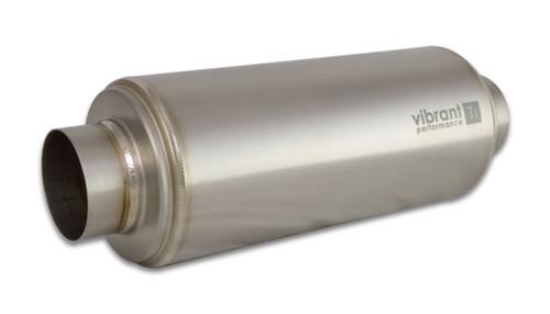 "Vibrant Performance Titanium Resonator, 3.5"" Inlet/Outlet I.D. x 16"" Long  Inlet I.D. - 3.50"" Outlet I.D. - 3.50"" Body O.D. - 5.50"" Overall Length: 16.00"" Weight: 3.94 lbs"