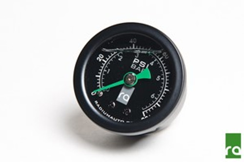 """Radium Fuel Pressure Gauge 0-100psi This high-accuracy fuel pressure gauge is suitable for all fueling applications. It features an acrylic lens with a silicone filled dial that reads from 0 to 100psi (0 to 6.9 BAR) with +/- 2% accuracy. The silicone fluid prevents the needle from vibrating for easy pressure readings. The internal bubble is normal. Rugged stainless 1-5/8"""" OD steel case (1-3/4"""" OD bezel) with nickel plated male 1/8"""" NPT fitting. Available with black bezel and housing only."""