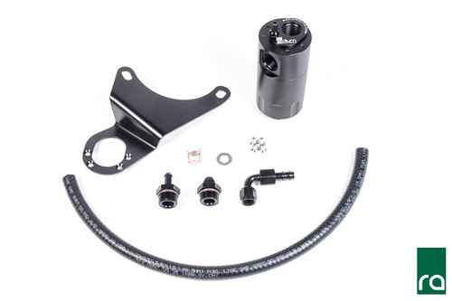 Radium Catch Can Kit, PCV, RH, EVO 8-9 The PCV Catch Can Kit installs next to the RH strut tower and plumbs in-line between the PCV valve and the intake manifold. This kit maintains the OEM closed system operation of the PCV valve while keeping oil and other contaminants from entering the intake manifold. Note: Because the Radium catch cans are pressure sealed, they are safe for boosted applications, so connecting to the intake manifold is permitted without a check valve.  What is included in the 20-0116 PCV Catch Can Kit: -Billet oil catch can with integrated condenser and dipstick -Laser cut powder coated RH mounting bracket -Anodized aluminum hose ends and adapter fittings -Enough black PCV hose for custom applications  -Stainless steel mounting hardware
