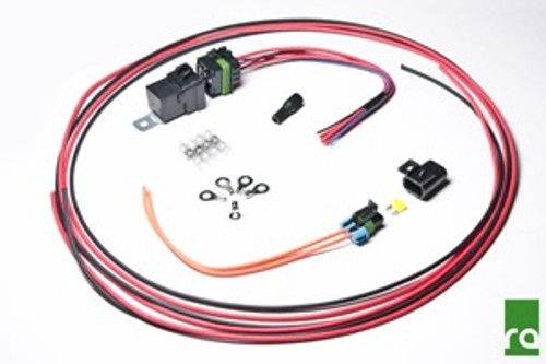 """Radium DIY Fuel Pump Hardwire Kit with relay and fuse Includes: -Weatherproof SPDT 12V/40A Relay with Mounting Tab (x1) -Weatherproof Relay Flying 12"""" Lead Connector (x1) -Weatherproof Mini Fuse Holder with Mounting Tab (x1) -Weatherproof Mini Fuse Flying Lead Connector (x1) -Quick-Connect Posi-Tap """"TRIGGER"""" Connector (x1) -Raychem Crimpless Solder Heat Shrink Butt Splices (x4) -10AWG 6mm Stud Ring Terminals (x4) -10AWG 5mm Stud Ring Terminal (x1) -10AWG Black TXL Wire (10ft) -10AWG Red TXL Wire (10ft) -25A LED Blade Mini Fuse (x1) -Instructions including wiring diagrams"""